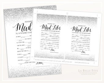 ENGAGEMENT PARTY GAME Mad Libs game in Silver glitter / printable diy