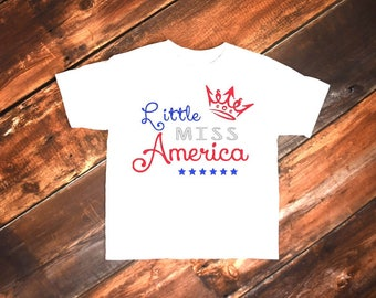 Little Miss America | Miss Independent | Fourth of July | Fireworks | Independence Day | Red White Blue | Tee Toddler Top Child T-Shirt