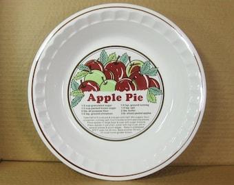 Vintage Apple Pie Plate with Recipe, Baking Pie Dish