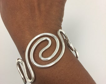 Hand Formed Sterling Silver Wave Design Cuff Bracelet