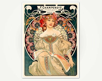 Alfons Mucha Poster Print - Ferdinand Champenois Printer Advertising Poster - Vintage Art Nouveau Poster Art
