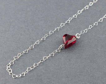 "Sterling Silver Necklace, Heart Necklace, Red Necklace, Swarovski Elements Crystal, 20"" Necklace"