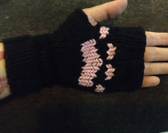 Kitty Cat Paws Fingerless Gloves - Black