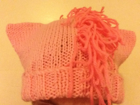 Pink Pony Hat - Hand-Knit Hat with Ears and Fringe - My Little Pony Pinkie Pie