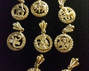 Gold Electroporated Charms Zodiac. 1.50 each.  Zodiac Charmsq