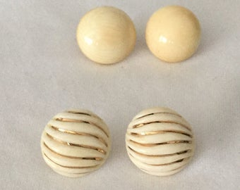 2 Antique Bone & 14K Gold Button Earring Pairs
