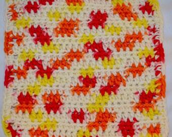 Crocheted Dishcloth White, Yellow, Red and Orange
