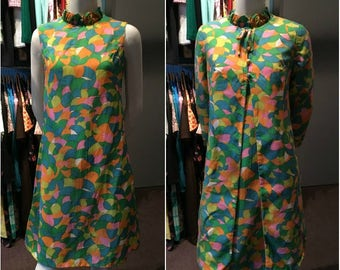 Vintage 1960s Evelyn Alden Original Colorful Mod Dress and Coat Set