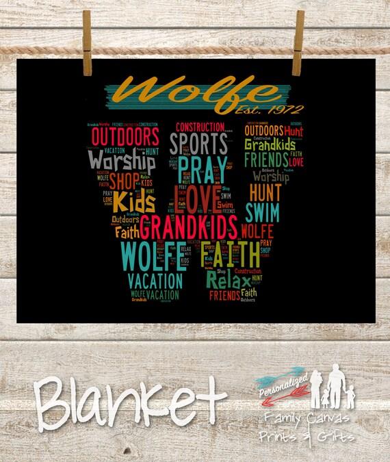 Personalized Family Word Art Fleece Blanket