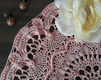 Pink Crochet Doily Excluisive Design 40 cm 100% Cotton