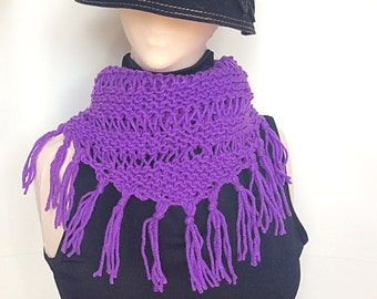 Purple Knitted Scarf/Shawl/Hip Scarf/Knitted Scarf/Knitted Shawl/Knitted Hip Scarf/Knit Shawl/Knit Scarf/Bohemain Shawl/Purple Knit Shawl