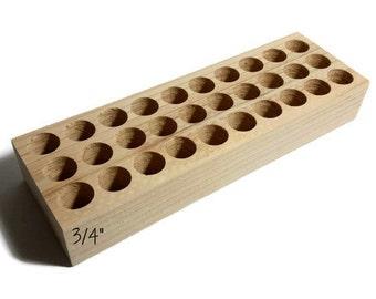 """3/4"""" holes Small metal stamp holder, wooden stamp block for metal stamps, Alphabet stamp holder, custom metal stamp holder, metal stamps"""