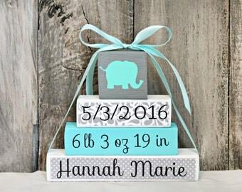 Elephant Baby Blocks - Personalized Name Blocks - Personalized Baby Blocks - Elephant Nursery Decor - Baby Shower Gift - Baby Boy Blocks