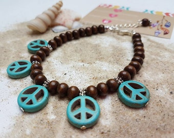 Peace bohemian anklet, wooden anklet, foot jewelry, beach anklet, hippie anklet, bohemian chic, beach anklet, beach jewelry, beaded anklet