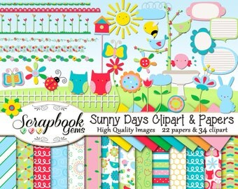 SUNNY DAYS Clipart & Papers Kit, 34 png Clip arts, 17 jpeg Papers Instant Download easter spring garden flower borders sun sunshine bugs