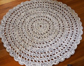 White and Grey Crocheted Round  Doily Rug/ Accent rug 94 cm- ready to ship
