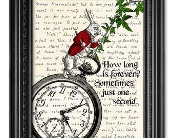 Alice in Wonderland Print, Handwriting Lewis Carroll Quote Print, White rabbit print, Literary Gift, Alice in Wonderland Wall Art  [ART 165]