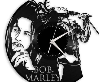 Bob Marley Clock, Rasta Jamaican Gift Idea, Unique Wall Decoration, Repurposed Vintage Vinyl Decor, Personalized Gift For Reggae Lovers