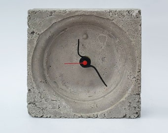 Clock Concrete Industrial Style Modern Minimalist Contemporary Square Cube Gray Rustic Chic Office Decor Home Decorating Urban Gift Black
