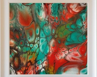 Charisma - by Maria Brookes, 616mm x 576mm Framed, Fluid Acrylic Pouring