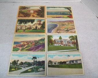 Eight Robert Kashower California Postcard Set, 1910's Ventura Santa Barbara Santa Monica