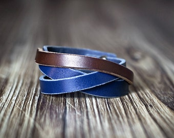 Minimalist blue and brown contrast color leather bracelet