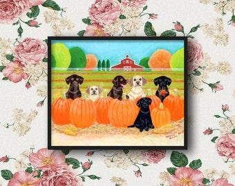 Labrador Print,  Autumn Pumpkin Labradors, Kitchen Wall Art, Whimsical Labrador artwork by Naomi Ochiai 8 x 10
