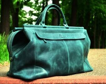 Leather Duffel Bag, Duffel bag leather, Green leather bag, travel bag for women, women duffle bag, genuine leather bag, luggage bag leather