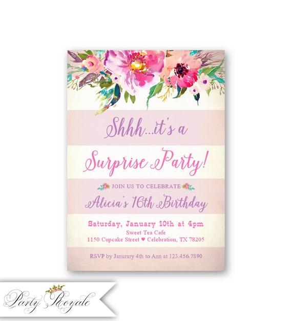 Sorpresa 16 invitaciones de cumplea os fiesta sorpresa para - Fiestas sorpresa de cumpleanos para adultos ...