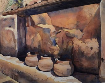 3 Pots Watercolor Giclee by John Schooley