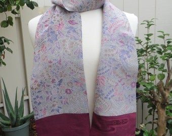 Gray and Maroon Silk Scarf made from re-purposed Japanese Kimono