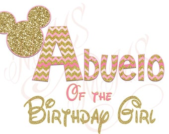 Abuelo Mommy Minnie Mickey Mouse Mom Birthday Girl Shirt DIY Iron On Digital Art Little Sister Matching Pink Gold Pregnancy Announcement