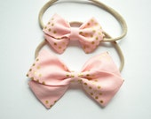 Bubblegum Pink & Gold Dots Anna Large and Mini Hair bow -Baby Cotton Hairbow - Newborn Sailor Bow -Toddler Hair clip -Fabric Bow with tails