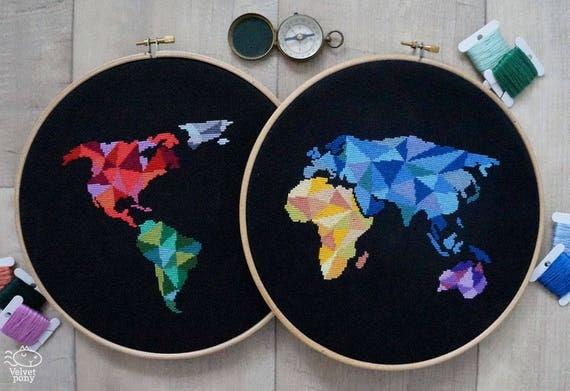 Modern cross stitch pattern pdf geometric world map world modern cross stitch pattern pdf geometric world map world map silhouette counted cross stitch chart original embroidery wall decor gumiabroncs Images