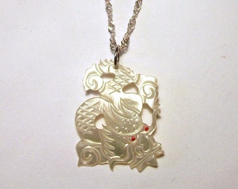 Chinese Dragon Pendant Mother of Pearl Vintage Oriental Pale Carved Shell 18k White Gold Plate Chain Necklace