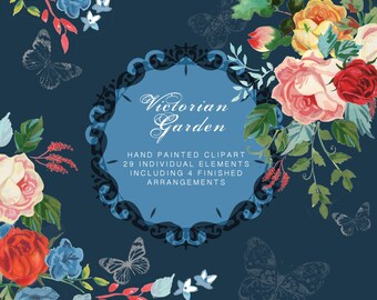 Watercolour and Gouache Flower Clip Art Collection - Hand Painted Graphics - Victorian Garden