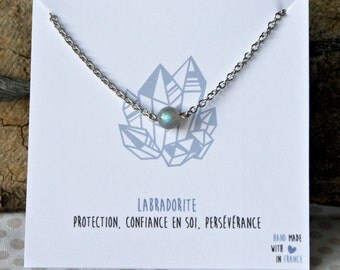 Labradorite necklace stainless steel