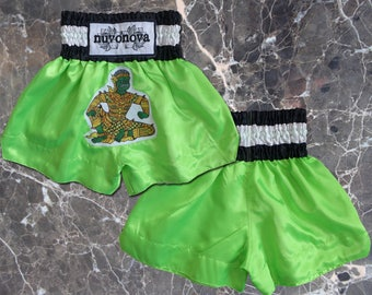 KIDS Muay Thai Shorts in Lime Green with Sitting Yak - Ages 2-3