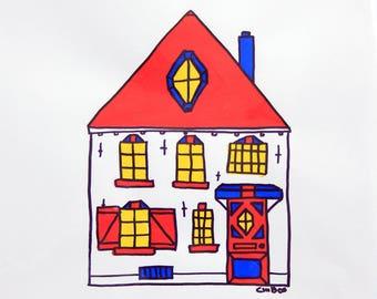 Imaginative House Acryl Paint Drawing Architecture Amersfoort
