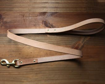 Leather dog leash, leather dog lead, handmade with brass clip
