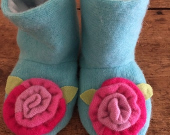 Child's Slippers/House Shoes/ Repurposed/Reclaimed/Up Cycled /Cashmere/Cashmere flower/ Size Toddler 6-6 1/2/OOAK