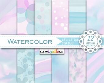 Watercolor Pink and Blue Digital Paper Pack,Scrapbooking Paper, Watercolor Paper