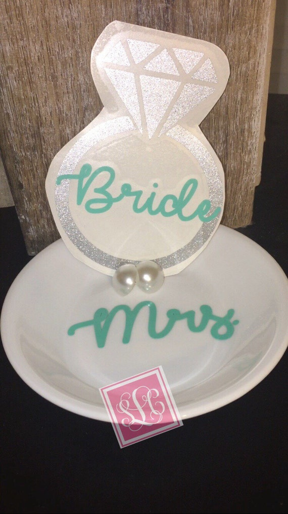 Bridal gift set* decal, earrings and jewelry dish