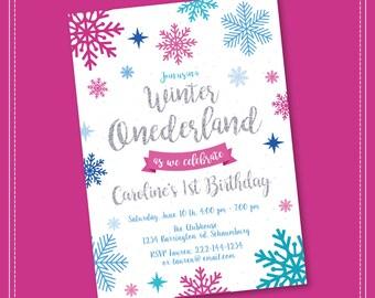 20% OFF SALE Winter Onederland Invitation, Winter Onederland Birthday, Winter Onederland, Girl Onederland Invitation, 1st Winter Birthday