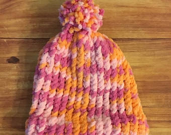 6-12 month-Baby Knitted Hat-Multicolor-Orange/Pink-baby gift-gift-baby hat-baby shower gift-soft hat-handmade-pompom-winter hat