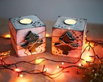 Candleholders set Candleholders pair Candlesticks Girlfriend gift Wood candleholders Christmas decor Christmas gift Birthday gift Woman gift
