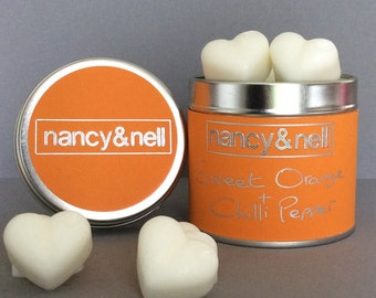 Sweet Orange & Chilli Pepper Scented Wax Melts, 15 Luxury Handmade Heart Shaped Wax Melts in a Silver Tin, Gift for Her, Birthday Gift