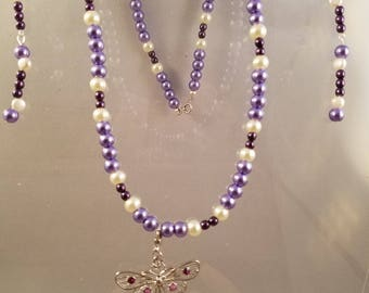 Delicate Purple and Cream Glass Pearl Necklace and Dangle Earring Set with Dainty Butterfly Pendant
