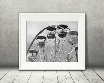 Ferris Wheel Photograph - Carnival Photo - Black White Photography - Fine Art Print - Home Wall Decor - Children's Room Pictures - Fun Gifts