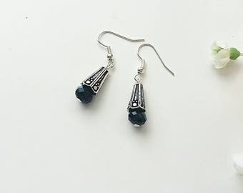 black crystal earrings, vintage earrings, gifts for mum, silver earrings, elegant earrings, dangle earrings, gifts for her, victoriana
